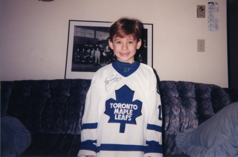 Mike Bleskie, Age 7, wearing his first Toronto Maple Leafs jersey.