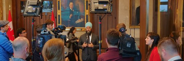 Interview scrum in the lobby of the House of Commons